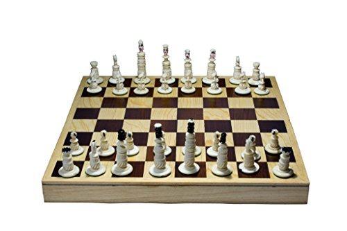 ハンドメイドチェス。100% bovine Bone。折りたたみ式ボード: 11.8` X 11.8`