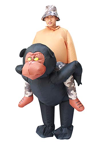 Seasonblow Inflatable Ride on Gorilla Costume Monkey Orangutan Adult Fancy Halloween Party Birthday Cosplay Fancy Dress up Suit