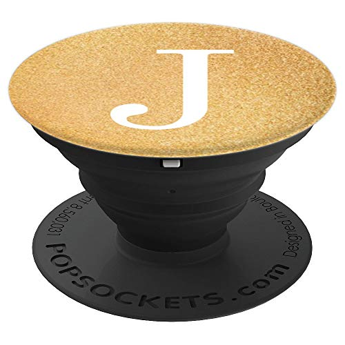 Deluxe Background Stand - White Initial Letter J Sparkle Deluxe Gold Color Background - PopSockets Grip and Stand for Phones and Tablets