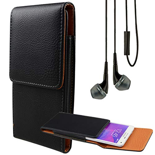 Bundle: Professional Vegan Leather Vertical Smartphone Holster Case (Black) & Deluxe Stereo Hands-Free Headset - fits Smartphones up to 6.5-inch iPhone XR/XS Max/XS/X / 8+ Galaxy S10e / S10+ LG