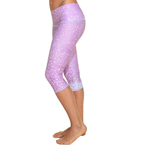 Teeki, Women's Capri, Mermaid Fairy Queen Lavender Pattern, Small