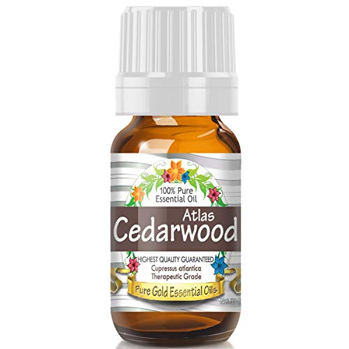 Atlas Cedarwood Essential Oil (100% Pure, Natural, UNDILUTED) 10ml - Best Therapeutic Grade - Perfect for Your Aromatherapy Diffuser, Relaxation, More!