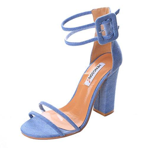 Sandalen Heels Riemchensandalen Blau Damen Schuhe 37 5cm High Fußlänge 23 Blockabsatz Fesselriemen Schnalle Size HENGSONG Hohen Absatz Asian XfT0T