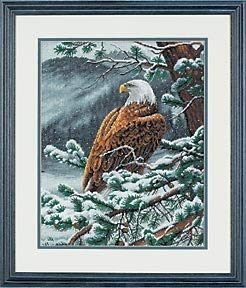 Zamtac top Quality Lovely Counted Cross Stitch kit Eagles Eye View Snow Eagle Dimensions 35117, Eagle's Eye View - (Cross Stitch Fabric CT Number: 14CT)
