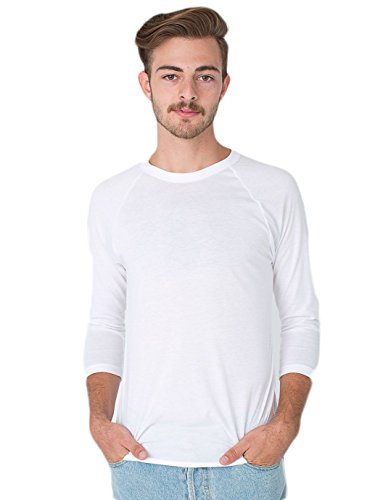 (American Apparel  Unisex Poly-Cotton 3/4 Sleeve Raglan Shirt, White/White, Small)
