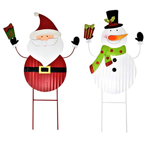 Gift Boutique 2 Christmas Stakes Metal Snowman and Santa Yard Decor for Outdoor Garden Decorations Stake Decorative…