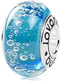 Murano Glass Ocean Blue Bubbles Bead Charm on Sterling Silver