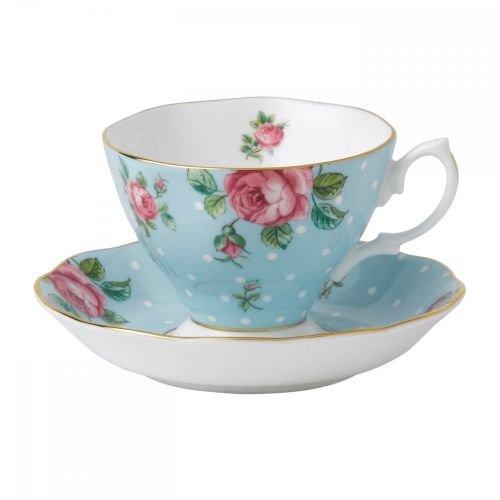 Royal Albert 8705026135 Formal Vintage Teacup and Saucer Boxed Set, Polka ()