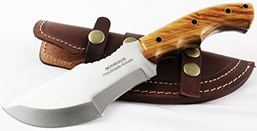 Moorhaus Handmade D2 Tool Steel Tracker Knife With Leather Sheath (Olive Wood)