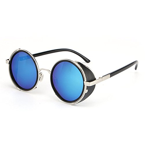 Vintage Unisex lens Round Glasses Steampunk Sunglasses Blue - 6