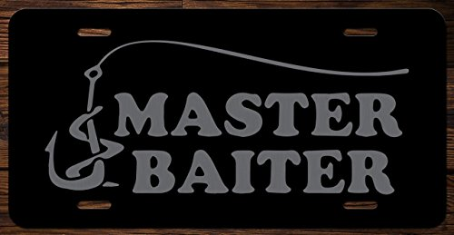 Fishing Master Baiter Funny Vanity Front License Plate Tag KCE015