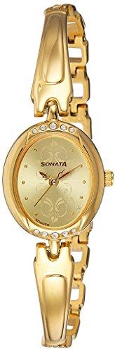 (Sonata Analog Champagne Dial Women's Watch-NK8118YM04)