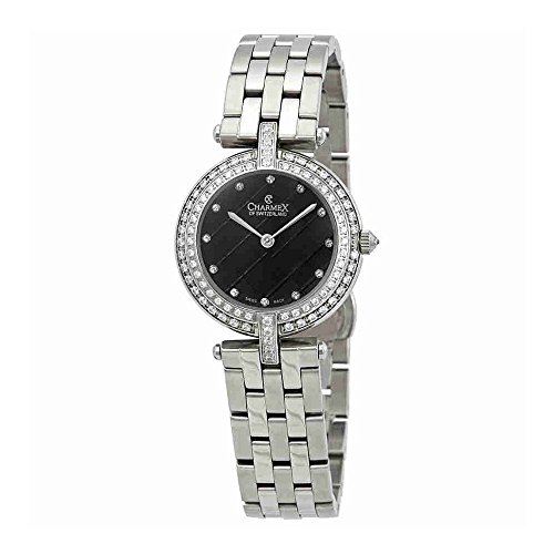Charmex Crystal Black Dial Stainless Steel Ladies Watch 6406