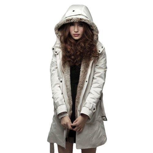Imixcity Women's Girl Sale Long Jacket Thicken Coat (2XL, Beige)