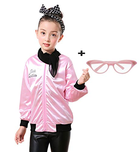 zhongyichen Child Pink Ladies Jacket with Polka Dot Headband (L, Pink) ()