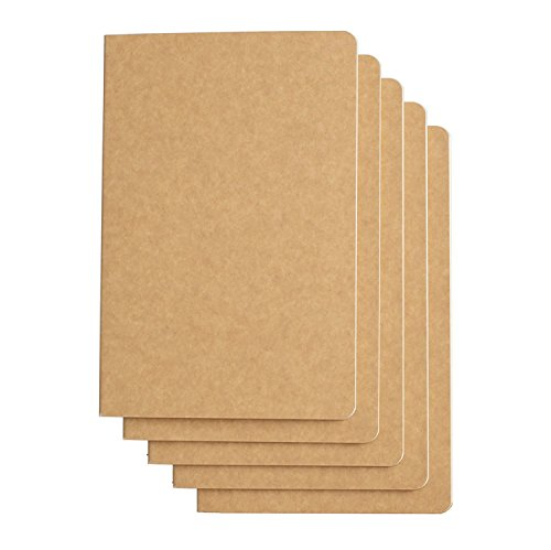 RIANCY Vintage Style Kraft Brown Soft Cover Writing Journal Diary Notebook Daily Notepad - H5 Size - 210 mm x 110 mm - 60 Pages/ 30 Sheets (Blank 5 Pack)