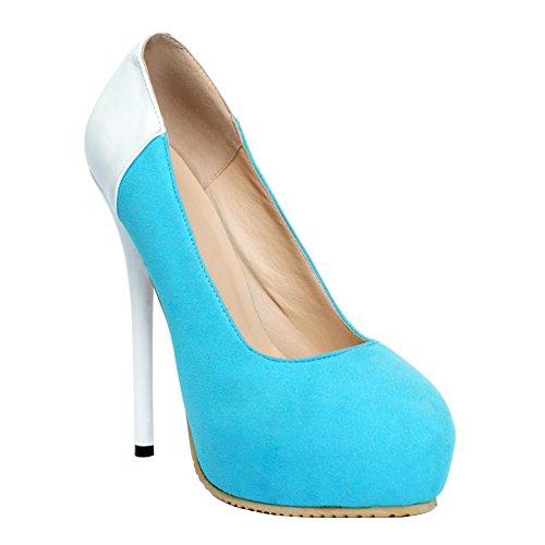 Kolnoo Damen Faschion Abstrakte Patchwork Druck Stilett Plattform Absatz Pumpen Beleg-auf Schuhe Blue