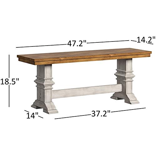 Transitional Rustic 2 Tone Dining Bench with Trestle Leg - Includes Modhaus Living Pen (Oak Top and Gray Base)