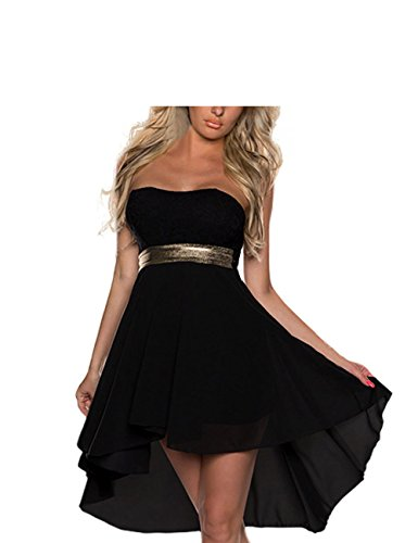 FASHION LOVER Women's Strapless High Low Cocktail Prom Dress Size XXL Black