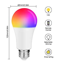 JandCase A19 Color Changing Light Bulbs