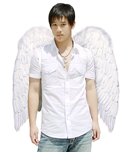 [FashionWings (TM) Archangel XL White Costume Feather Wings & Halo Adults Unisex] (Angel Wings For Halloween Costumes)
