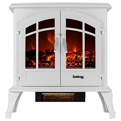 e-Flame USA Jasper Portable Electric Fireplace Stove (Winter White) - This 23-inch Tall Freestanding Fireplace Features Heater and Fan Settings with Realistic and Brightly Burning Fire and Logs ()
