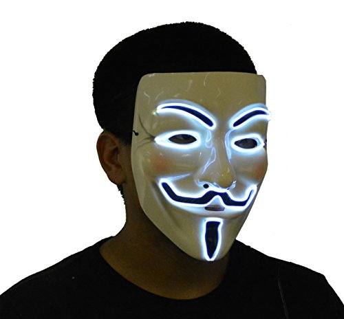 JenniWears V for Vendetta Guy Fawkes LED Anonymous Rave Mask EL Wire White