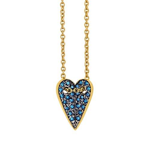 ELENA VOTSI femme  18carats (750/1000)  Or jaune #Gold Rond   Bleu Synthetischer Diamant