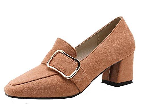 AllhqFashion Damen Frosted Rein Ziehen auf Quadratisch Zehe Mittler Absatz Pumps Schuhe Gelb