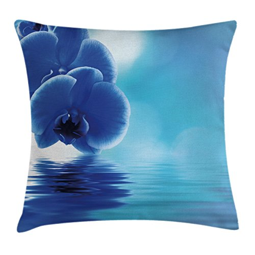 - Ambesonne Flower Throw Pillow Cushion Cover, Orchid Floral Design with Reflection to a River Water Image Photo, Decorative Square Accent Pillow Case, 24 X 24 Inches, Violet Blue Aqua and White