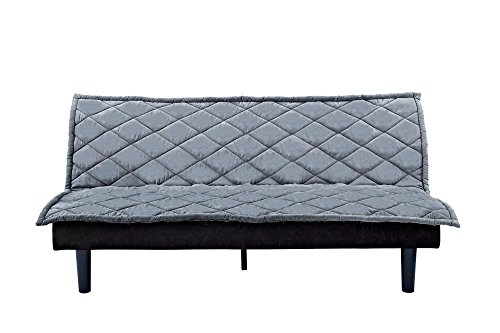 DHP Lancaster Futon Couch with Tufted Upholstered Diamond Design - Purple