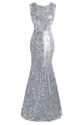 Topdress Women's Mermaid Long Bridesmaid Dress Sequins Wedding Party Prom Gown Silver US 14 - Silver And Gold Prom Dress