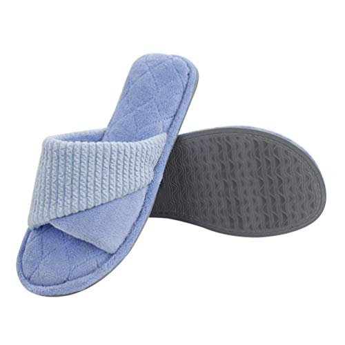 Magtoe Women's Open Toe Open Back Microfiber Terry Memory Foam Spa Slide Home Slippers - Terry Foam