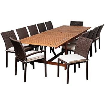 amazonia jefferson 13 piece eucalyptus wicker extendable rectangular dining set. Black Bedroom Furniture Sets. Home Design Ideas