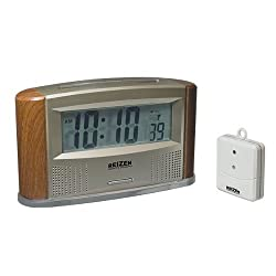 Reizen Atomic Talking Clock with Indoor Outdoor Therm