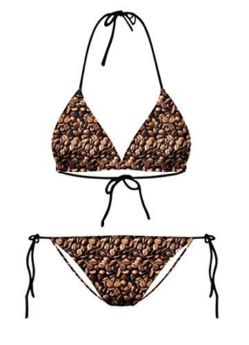 THENICE Mujer Bikini Conjuntos Coffee beans