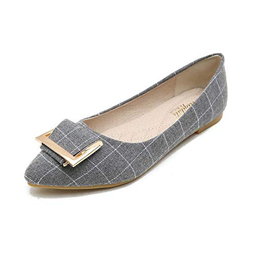 (Dejian Women Pointed Toe Ballet Flats Shoes Slip On Casual Metal Buckle Plaid Ballerina Ballet Flats (US 6, Gray))