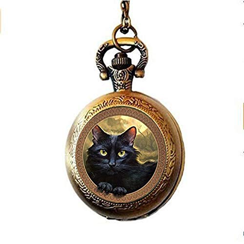 Cat Pocket Watch Necklace, Cat Quartz Pocket Watch Lovely Black Cat Jewelry,for Lover Gift]()