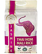 Pride Of India - Long Grain Premium Thai HOM Mali Jasmine Rice, 12.5 Pound (5.68 Kg) Reclosable Bag - Naturally Fragrant, Sweet, Flavorful, Slender, Non Sticky, Consistent, Superb Value 120+ Servings