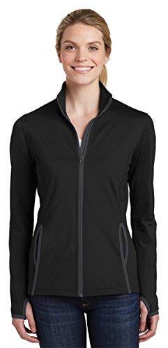 Jacket Jersey Track - Sport-Tek Women's Stretch Contrast Full-Zip Jacket_Black/ Charcoal Grey_XXL