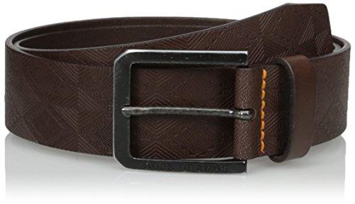 Boss Orange Men's Jeremyo Leather Embossed Belt, Dark Brown, 85 (Embossed Leather Brown Dark)