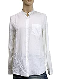 Mens Beige White Cotton Stripe Banded Sport Slim Shirt 295274