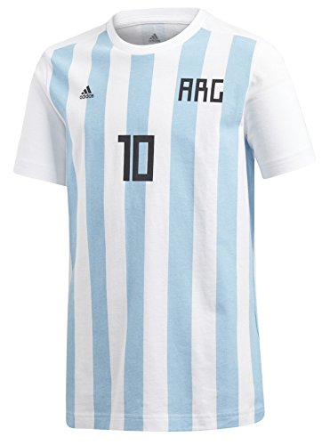 adidas World Cup Soccer Argentina Youth Boys Messi Tee, Medium, White