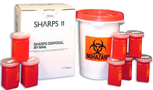 6.5 Gal Mail-Away Biohazard Waste Container with Eight 1 Qt Sharps (Mail Away Sharps Container)