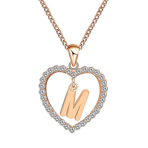 Caopixx Ladies Pendant, Women Gift 26 English Letter Name Chain Pendant Heart Rhinestone Necklaces Jewelry Presents 2018 (M, Alloy)
