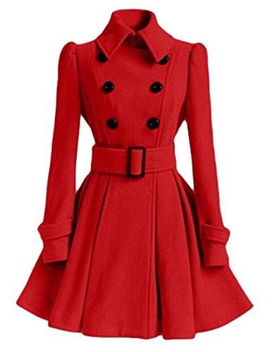 Littler Store Women's Classic Double Breasted Thicken Wool Trench Coat RedUS-S