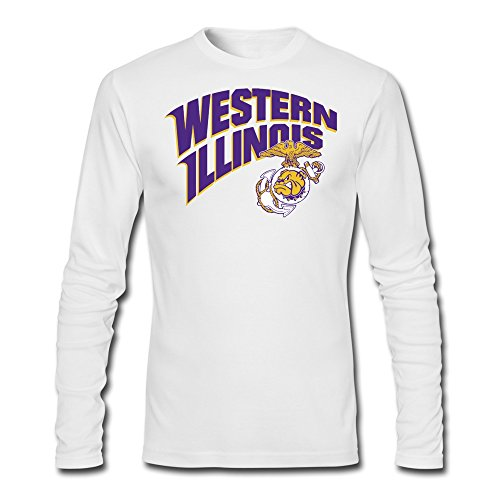 100% Cotton Man's Western Illinois Leathernecks Rocky Bulldog Tshirts Long (New Dog History T-shirt)