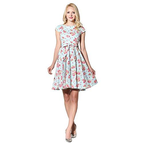 Maniche Floral Donna Mint Sera Fiftieschic Vestito Corte 4Envxgw0q