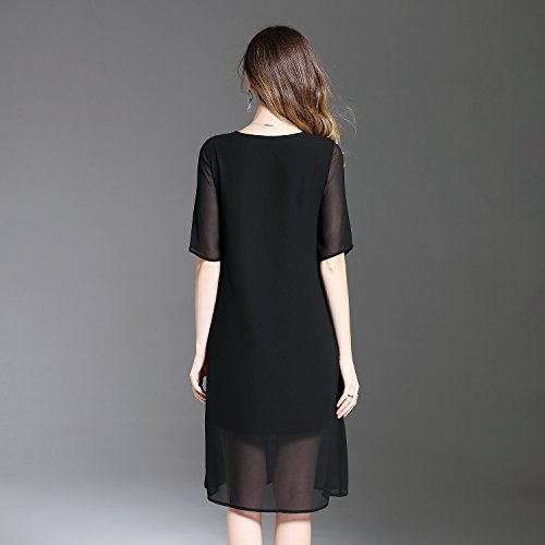 Scoop Dresses Sleeve cotyledon Women Fit Dress Short Embroidered s Black Maxi Solid Loose Neck Color Short qtwxICxAW0