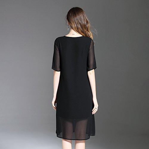 Robes Women`s Cotylédons Brodés Ramassent Manches Courtes Cou Coupe Ample Couleur Unie Courte Robe Maxi Noir